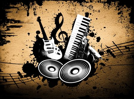grunge music background: cool loco de fondo la m�sica grunge con detalles de m�sica