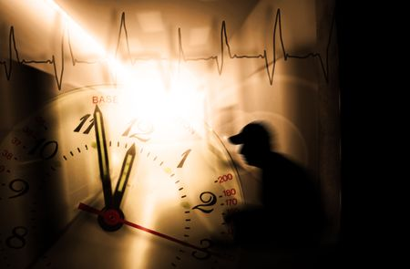 fearing: man with psychic pressure in a corridor