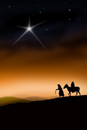 birth of christ: All the way from Nazareth to Bethlehem Stock Photo