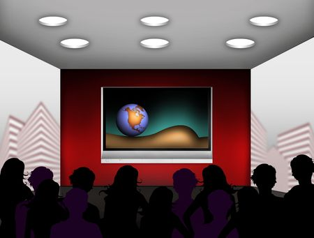 interactive: media room with plasma television on the wall