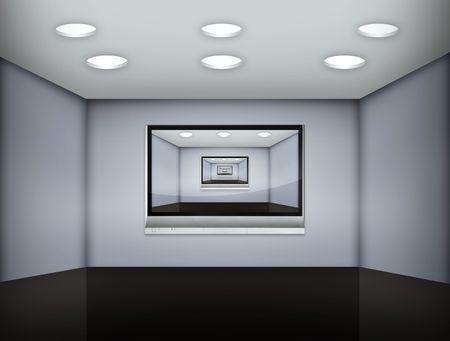 nunca: sue�o de una habitaci�n sin fin de medios Foto de archivo