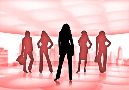 silhouettes of business women photo