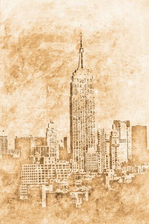 secondhand: old New york downtown in retro design look