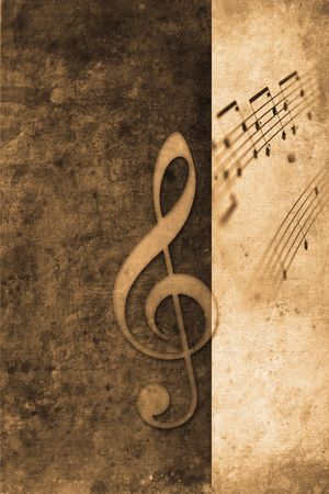 mangy: old music notes in retro design look