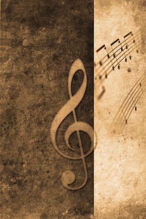 old music notes in retro design look