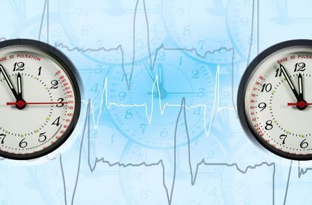 tachycardia: pulsation clock shows the time - five to twelve