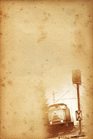 old historical railway paper with locomotive and signal