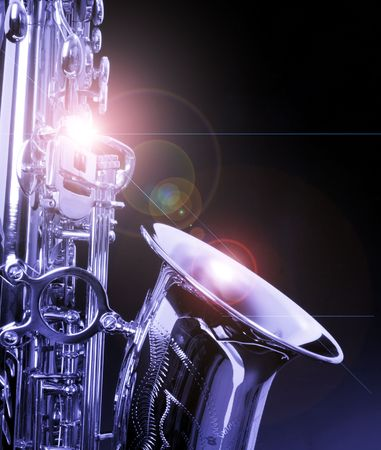 picture of a beautiful golden saxophone Stock Photo