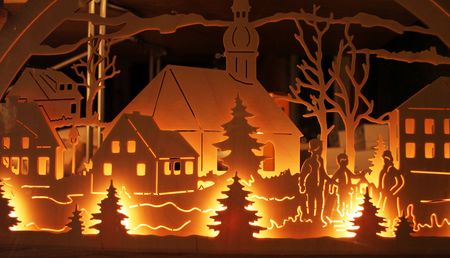 christmas tradition carved wood crafts with lights Stock Photo - 4939941