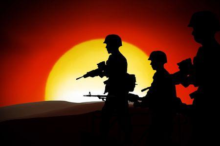 batallon: las siluetas de los soldados en la luz de fondo