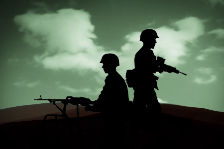 war on terror: silhouettes of any Soldiers in back light