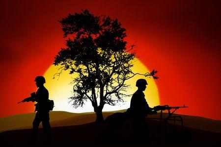 batallón: Los soldados de las siluetas en la parte de atrás de luz