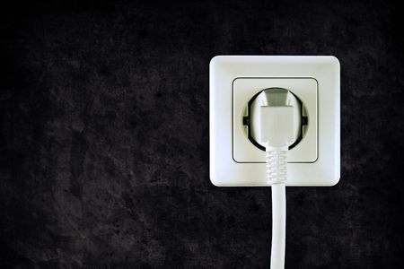 old socket with plugged cable in retro design look