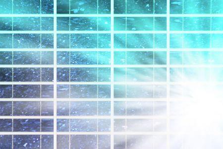solar panel with blue sky an sunbeam Stock Photo - 4939926