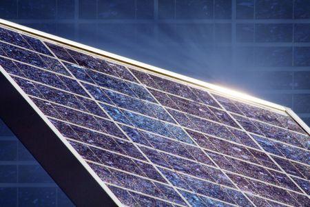 solar panel with blue sky an sunbeam Stock Photo - 4940015