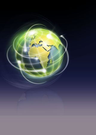 circling: world with international movments as shooting stars Stock Photo