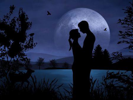 Romantische Paar in der Nacht mit schönen Mondschein Standard-Bild
