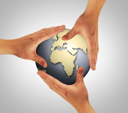 rapacity: three hands are touching the whole world