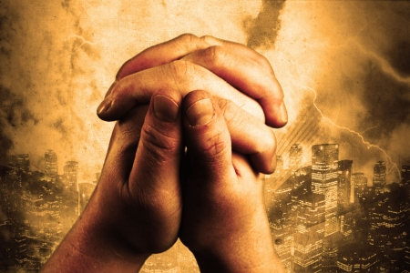 two hands are praising the holy lord Stock Photo - 5046867