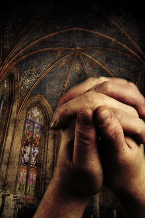 two hands are praising the holy lord Stock Photo - 5046883