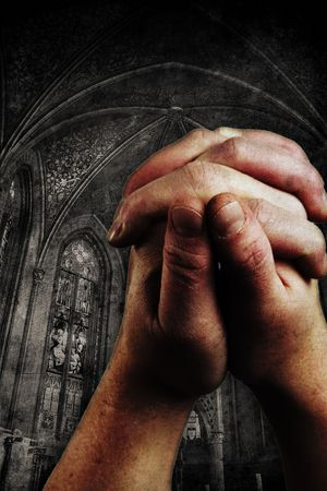 two hands are praising the holy lord Stock Photo - 5046879