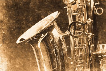 old beautiful saxophone in retro design look photo