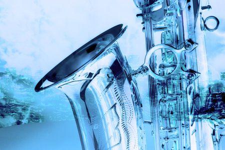 oldies: old beautiful saxophone in retro design look Stock Photo