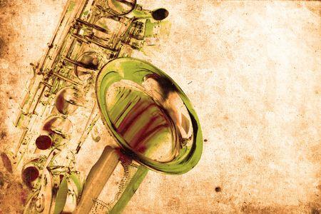 old beautiful saxophone in retro design look Stock Photo