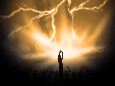 veel mensen zijn lof de heilige Heer Stockfoto