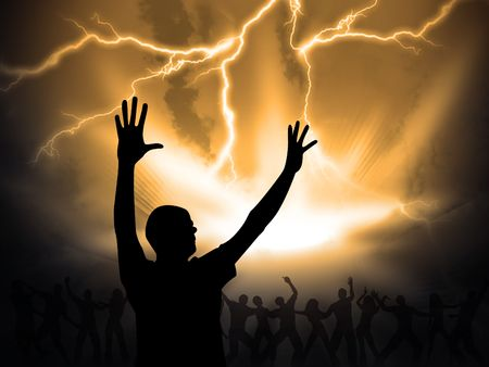 worship praise: many people are praising the holy lord