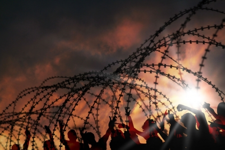 war refugee: the barbed wire with clouds and sunblades