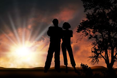 romantically: Couple in sunset, boy and girl friendship forever Stock Photo
