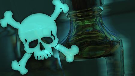 intoxicant: bottle with toxical fluid and dangerous skull