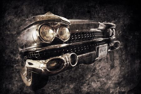 front of an old american car in retro usede style Stock Photo