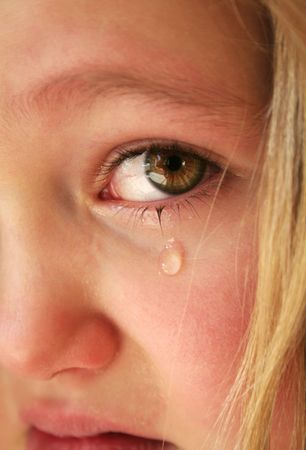 Little sad girl with tears in her eyes photo
