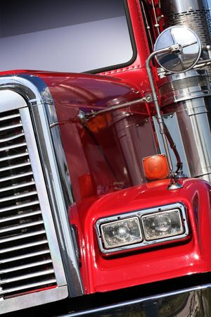 The beautiful red US Truck with chrome