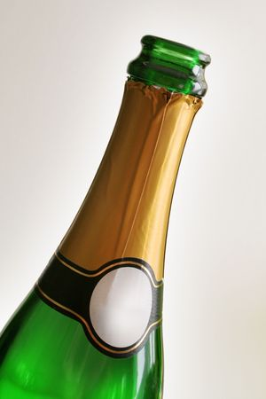 The lonely one green bottle of champagne photo