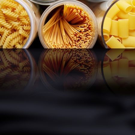 mediterranean pasta with any different italian noodles Stock Photo