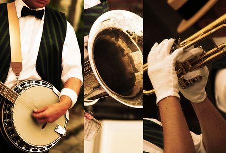 Trio Dixieland fait bien son travail Banque d'images - 5468596