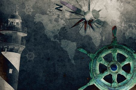 historical ship: steering wheel with a navigator and lighthouse Stock Photo