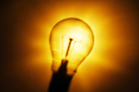 illustratrion of a yellow lighted tungsten lamp photo