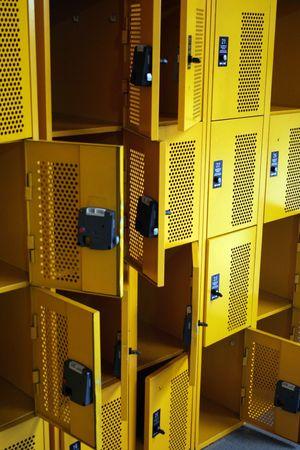 private school: rows of lock boxes in a train station