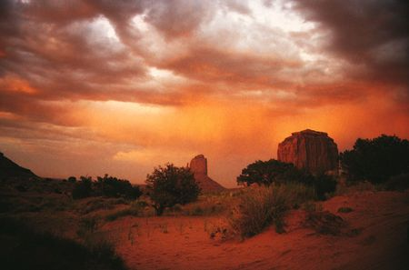 arizona sunset: the monument valley arizona United states of Amrerica Stock Photo