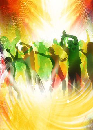 Beaucoup de gens heureux est danser sur nice couleurs  Banque d'images - 5539628