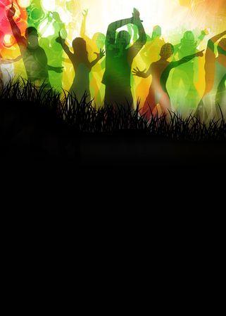 Beaucoup de gens heureux est danser sur nice couleurs  Banque d'images - 5539671