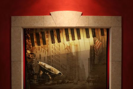 Stage or window with musical broadway background photo