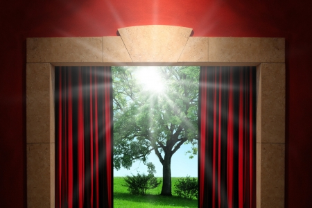Stage or window with green nature background photo