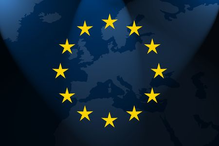 the flag of europe in front of the map photo