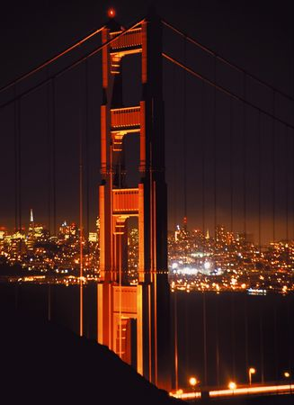 moon gate: san francisco and golden gate bridge at night