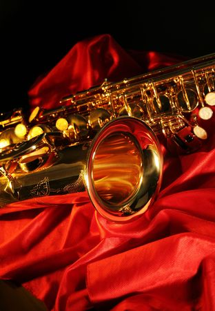 picture of a beautiful golden saxophone photo